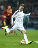 Andriy Yarmolenko shoots the ball, UEFA Europa League Round of 16 second leg match between Dynamo and Everton Stock Images