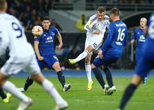 Andriy Yarmolenko shoots and scores, UEFA Europa League Round of 16 second leg match between Dynamo and Everton Stock Photos
