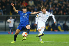 Andriy Yarmolenko shootsl, UEFA Europa League Round of 16 second leg match between Dynamo and Everton Royalty Free Stock Image