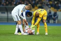 Andriy Yarmolenko takes medical help from other football players, UEFA Europa League Round of 16 second leg match between Dynamo a Royalty Free Stock Images