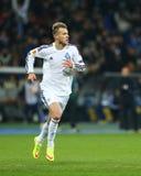 Andriy Yarmolenko viert genoteerd doel, de Ligaronde van UEFA Europa van 16 tweede beengelijke tussen Dynamo en Everton Royalty-vrije Stock Afbeelding