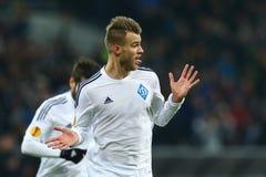 Andriy Yarmolenko viert genoteerd doel, de Ligaronde van UEFA Europa van 16 tweede beengelijke tussen Dynamo en Everton Royalty-vrije Stock Foto