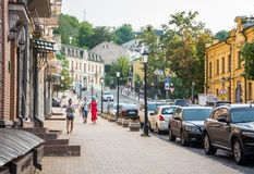 Andriyivskyy Descent, pedestrian street Ukraine, Kyiv, Podil. Ed. People are walking on the Andriyivskyy Descent, pedestrian street in Kyiv, Ukraine. Podil Royalty Free Stock Images