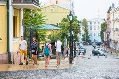 Andriyivskyy Descent, pedestrian street Ukraine, Kyiv, Podil. Ed Stock Photo