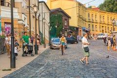 Andriyivskyy Descent, pedestrian street Ukraine, Kyiv, Podil. Ed Royalty Free Stock Photos