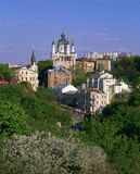 Andriyivskyy Descent with the Saint Andrew`s Church at springtim Royalty Free Stock Photography