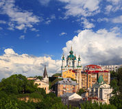 Andriyivskyy descent. View on Andriyvskyy descent in Kiev over blue cloudy sky Stock Images