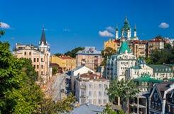Andriyivskyy nedstigning Kiev Ukraina arkivfoton