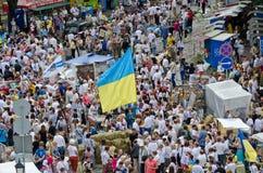 Andriyivskyy uzviz at the Independence Day Royalty Free Stock Photography