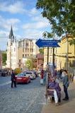 Andriyivskyy uzviz w Ukraińskim kapitałowym Kyiv Zdjęcia Stock