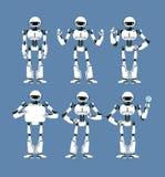 Androïde cybernétique de robot avec les bras bioniques et les yeux dans différentes poses Ensemble mignon de mascotte de humanoïd illustration stock