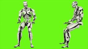 Androïde de robot bonst Realistische vuist van een lus voorzag motie op groene het schermachtergrond 4K vector illustratie