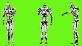 Androïde de robot gaat code in Realistisch voorzag motie op groene het schermachtergrond van een lus 4K stock illustratie