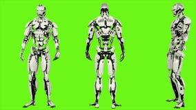 Androïde de robot is gedronken nutteloos Realistisch voorzag motie op groene het schermachtergrond van een lus 4K stock illustratie