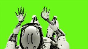 Androïde de robot jouant le piano Mouvement réaliste sur l'écran vert rendu 3d illustration libre de droits