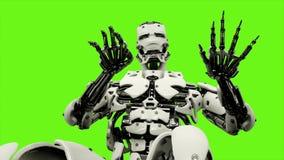 Androïde de robot jouant le piano Mouvement réaliste sur l'écran vert rendu 3d