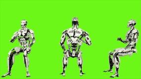 Androïde de robot juicht terwijl het zitten toe Realistisch voorzag motie op groene het schermachtergrond van een lus 4K vector illustratie