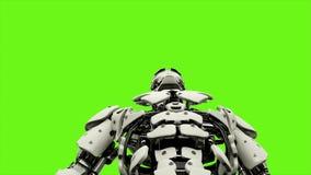 Androïde de robot is persen de knoop Realistisch voorzag motie op groene het schermachtergrond van een lus 4K stock illustratie