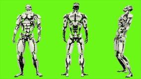 Androïde de robot wordt verslagen Realistisch voorzag motie op groene het schermachtergrond van een lus 4K royalty-vrije illustratie