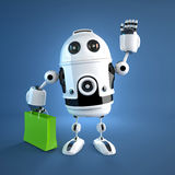 Androïde robot met het winkelen zak. royalty-vrije stock foto