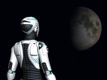 Androïde vrouw die in ruimte staart. Stock Foto's
