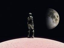 Androïde vrouw die in ruimte staart. Royalty-vrije Stock Foto's