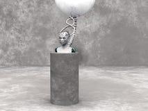 Androïde vrouwenhoofd op een podium. Royalty-vrije Stock Afbeelding