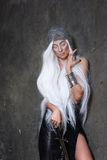 Androgyne. Girl with long white hair in chain mail and sword Stock Images