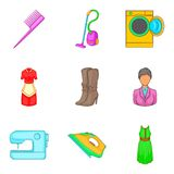 Androgynous icons set, cartoon style. Androgynous icons set. Cartoon set of 9 androgynous vector icons for web isolated on white background Stock Photo