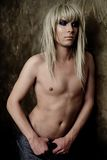 Androgynous man. Portrait, man as a beautiful woman Stock Photo