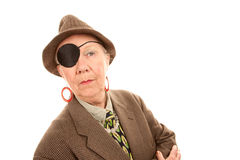 Androgynous senior woman with eye patch Royalty Free Stock Images