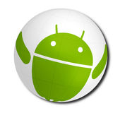 Android. Green android caricature conquers the world. Android OS logo,vector illustration Stock Image