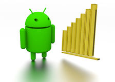 Android OS Operating System Robot 3d model and chart. Green Android OS Robot 3d model with increased sales chart royalty free stock image