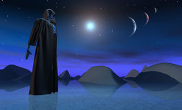 Android in alien landscape. Android in landscape with three moons Royalty Free Stock Photography