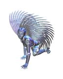 Android Angel - crawling. Female android or robot angel with metallic silver wings crawling on the ground, 3d digitally rendered illustration Royalty Free Stock Photos