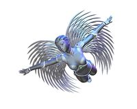 Android Angel - flying. Female android or robot angel with metallic silver wings in flight, 3d digitally rendered illustration Stock Images