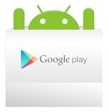 An android appear from Google play bag. With a suprise Royalty Free Stock Image