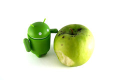 Android with apple. Green android un apple. Android OS logo stock illustration