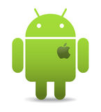 Android with apple heart. Green android caricature with apple heart. Android OS logo,vector illustration Royalty Free Stock Image