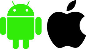 Android and Apple logos. Royalty Free Stock Photo