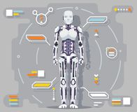 Android artificial intelligence robot futuristic information interface flat design vector illustration royalty free illustration