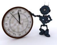 Android avec l'horloge avant minuit Photo libre de droits