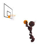Android Basketball Player. 3D Render of an Android Basketball Player Stock Photo