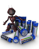 Android with batteries Stock Photo