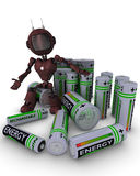 Android with batteries Royalty Free Stock Photo
