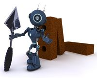 Android with bricks and trowel. 3D Render of an Android with bricks and trowel Stock Images