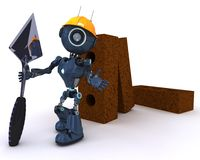 Android with bricks and trowel. 3D Render of an Android with bricks and trowel Stock Photo