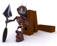 Android with bricks and trowel Royalty Free Stock Image