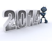 Android bringing in the new year. 3D Render of an Android bringing in the new year Royalty Free Stock Photo