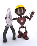 Android builder with pliers. 3D Render of an android Builder with pliers stock illustration